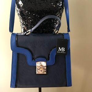 Melie Bianco Blue on Navy bag New With Tag